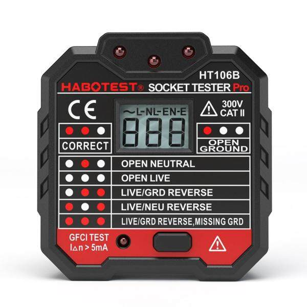 HABOTEST Advanced GFCI Electric Socket Tester Automatic Neutral Live Earth Wire Testing Circuit Polarity Detector Wall Plug Breaker Finder Electric Leakage Test with Voltage Backlight LCD Display