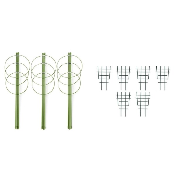3 Pcs Climbing Plants Support, Garden Trellis Flowers Tomato Cages Stand & 6 Pcs Garden Potted Plant Climbing Frame Grid