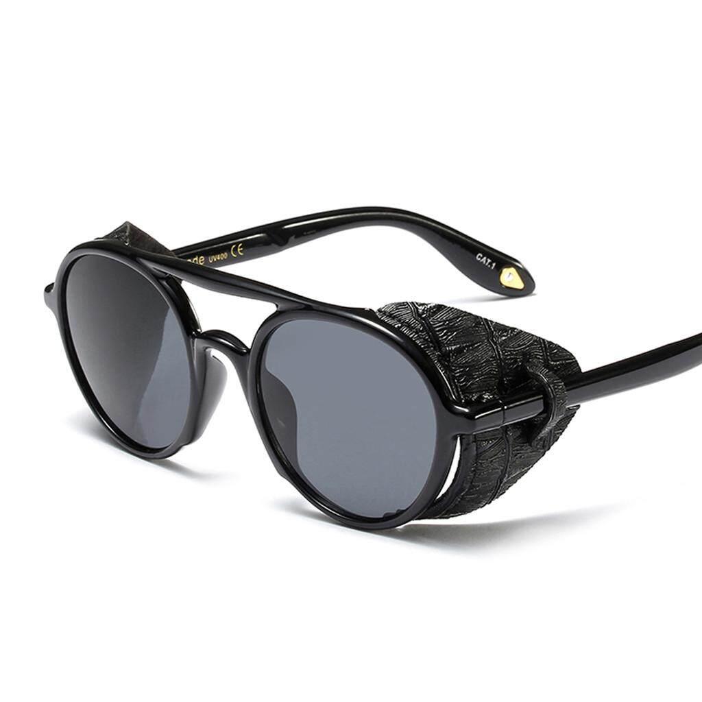 2070b5caf11 Fashion Shield Sunglasses Men Round Leather Black Punk Retro Sun Glasses  for Women 2019 Summer UV400
