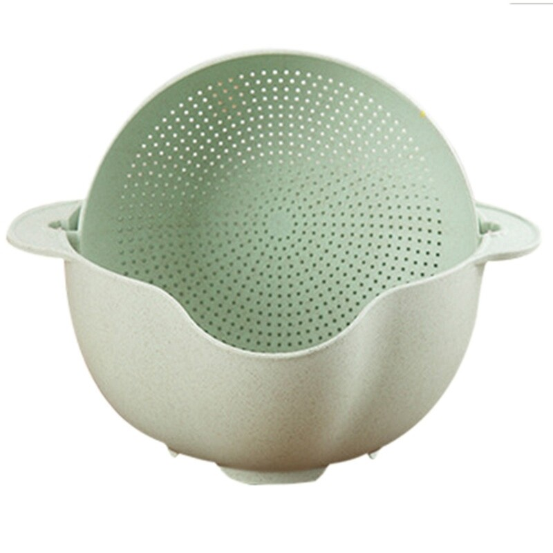 Washing Basket Double Drain Basin Sink Washing Rice Bowl Fruit Tray Drain Basket Wash Rice Basket Kitchen Strainer Noodles Vegetables Fruit Kitchen Basket
