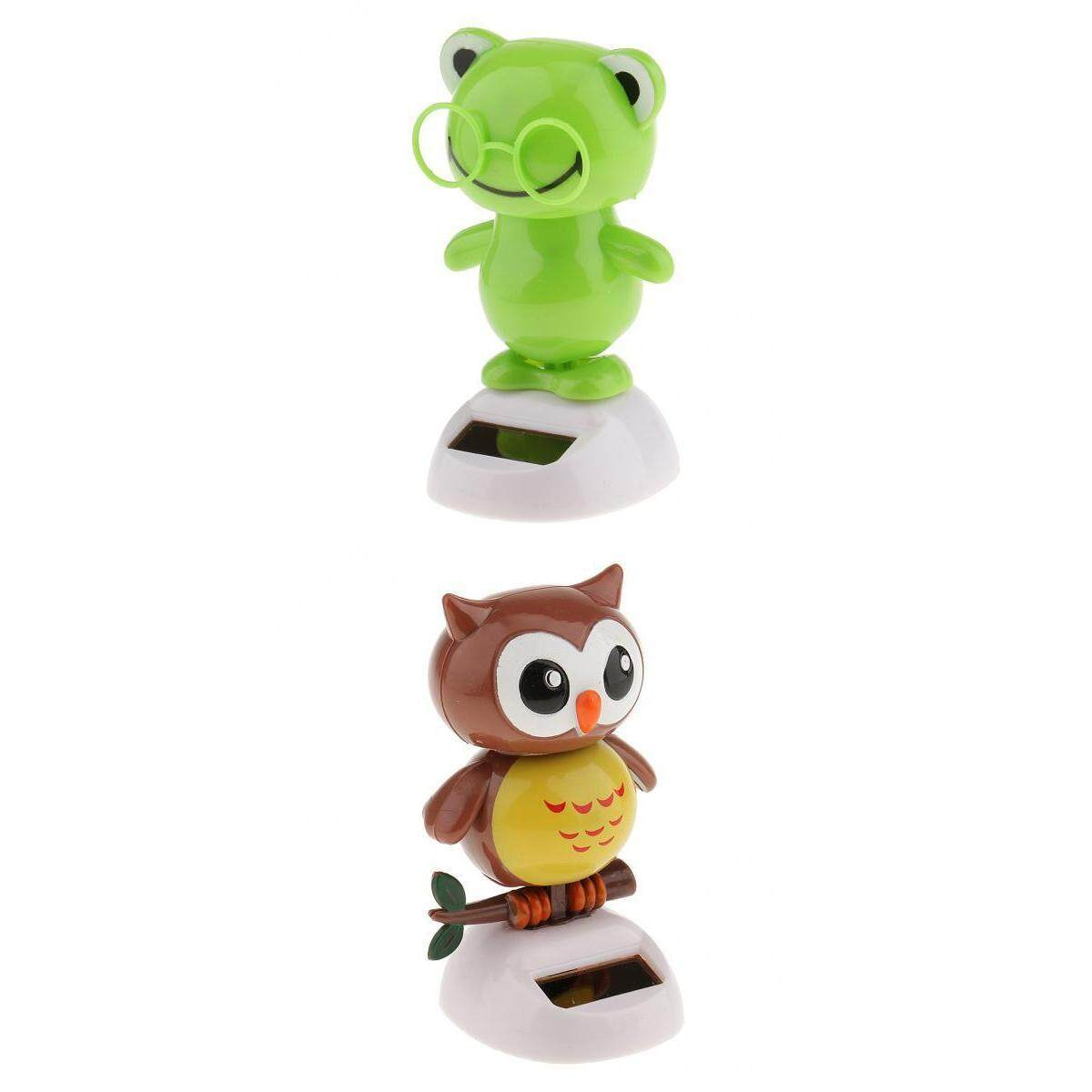 Perfk Set of 2 Solar Powered Solar Powered Toy Bobble Dashboard Dancing Dancer Car Decor Frog+Owl