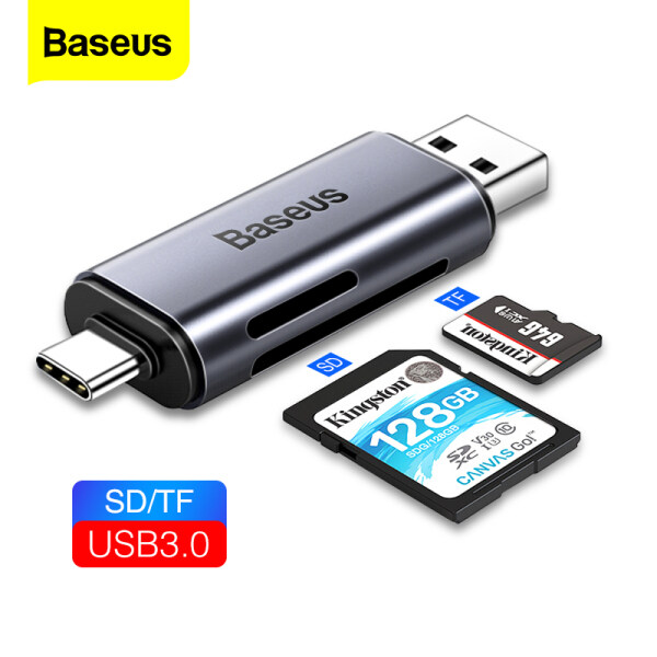 Baseus Card Reader USB 3.0 2 In 1 SD TF Card For PC Computer Laptop Mobile Phone OTG Smart Memory Type C Card Reader Adapter