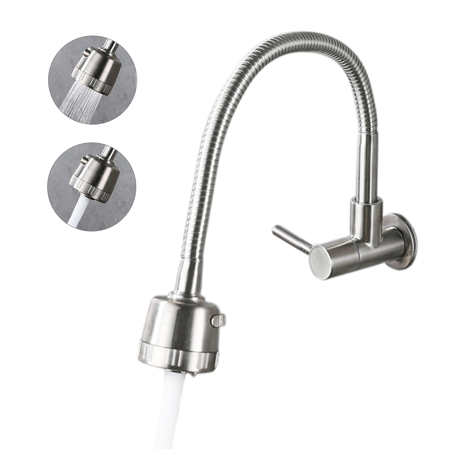 Wall Mounted Kitchen Faucets 2 Water Modes High Arc Single Handle Bathroom Sink Faucets Stainless Steel Brushed Finished 360 Degree Rotatable Water Tap With Cold Water Inlet Hose Lazada Ph