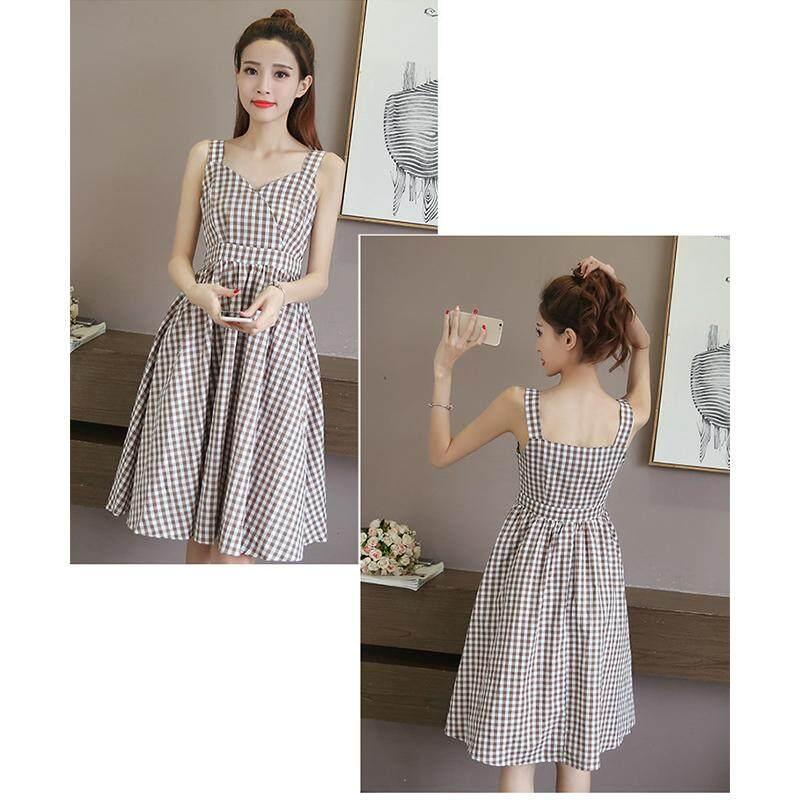 4c52106cea SZWL Summer Dress Women Summer Simple Plaid V-neck Sling Dress