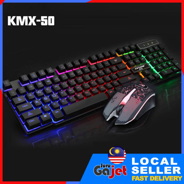 KMX-50 LED Backlight USB mechanical Feel Gaming Keyboard & Mouse Set Malaysia