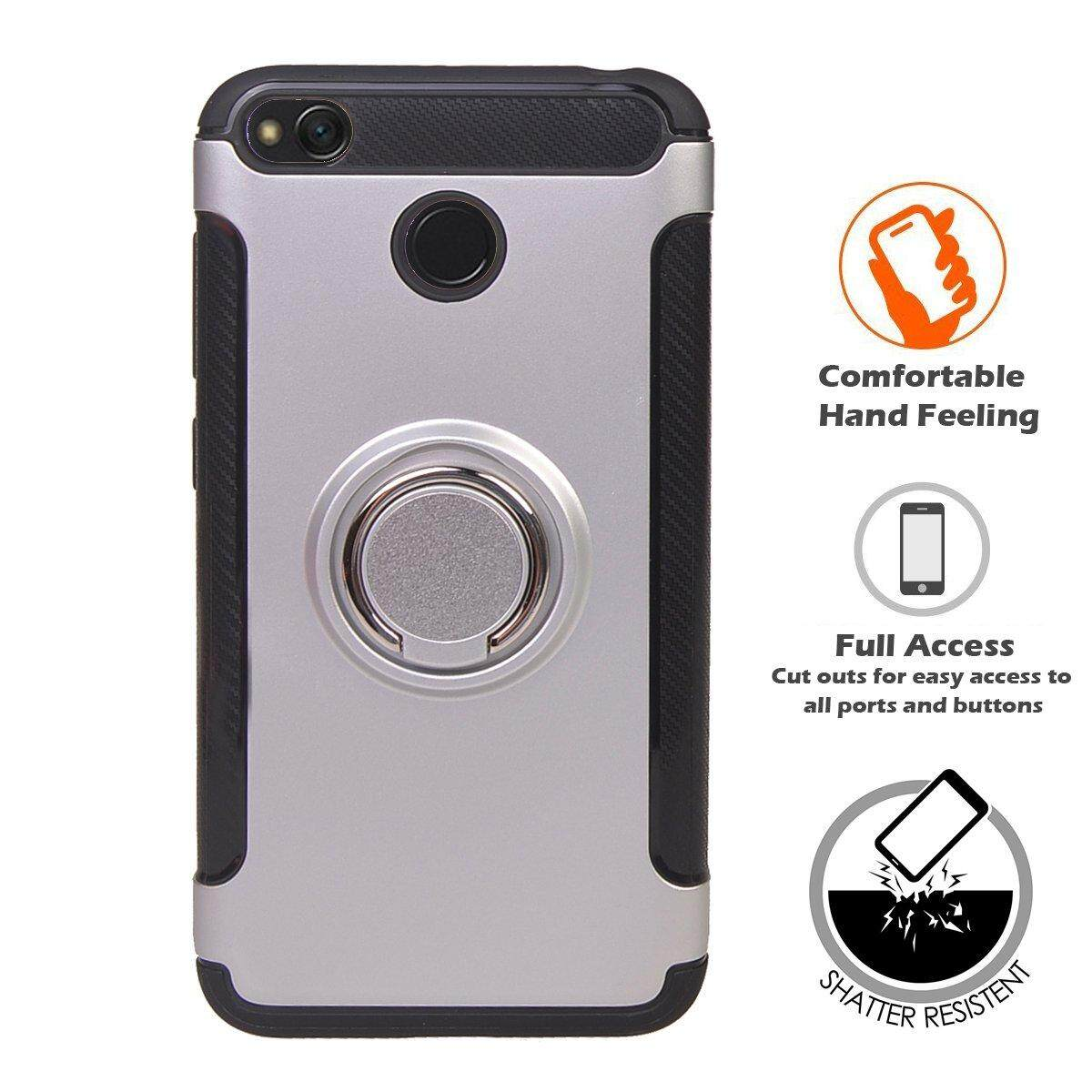 Redmi 4X Shockproof Case Cover, 360 Rotating Ring Grip Holder Kickstand , Back Casing [