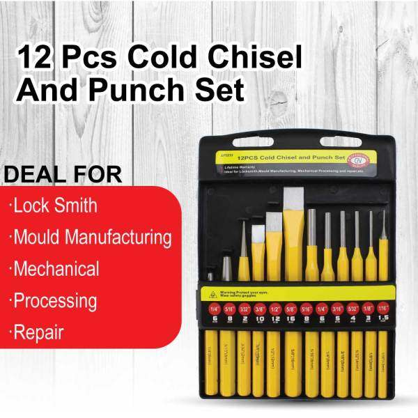 12pcs Cold Chisel And Punch Set Chrome Vanadium High Quality DIY Tool Ready Stock Malaysia