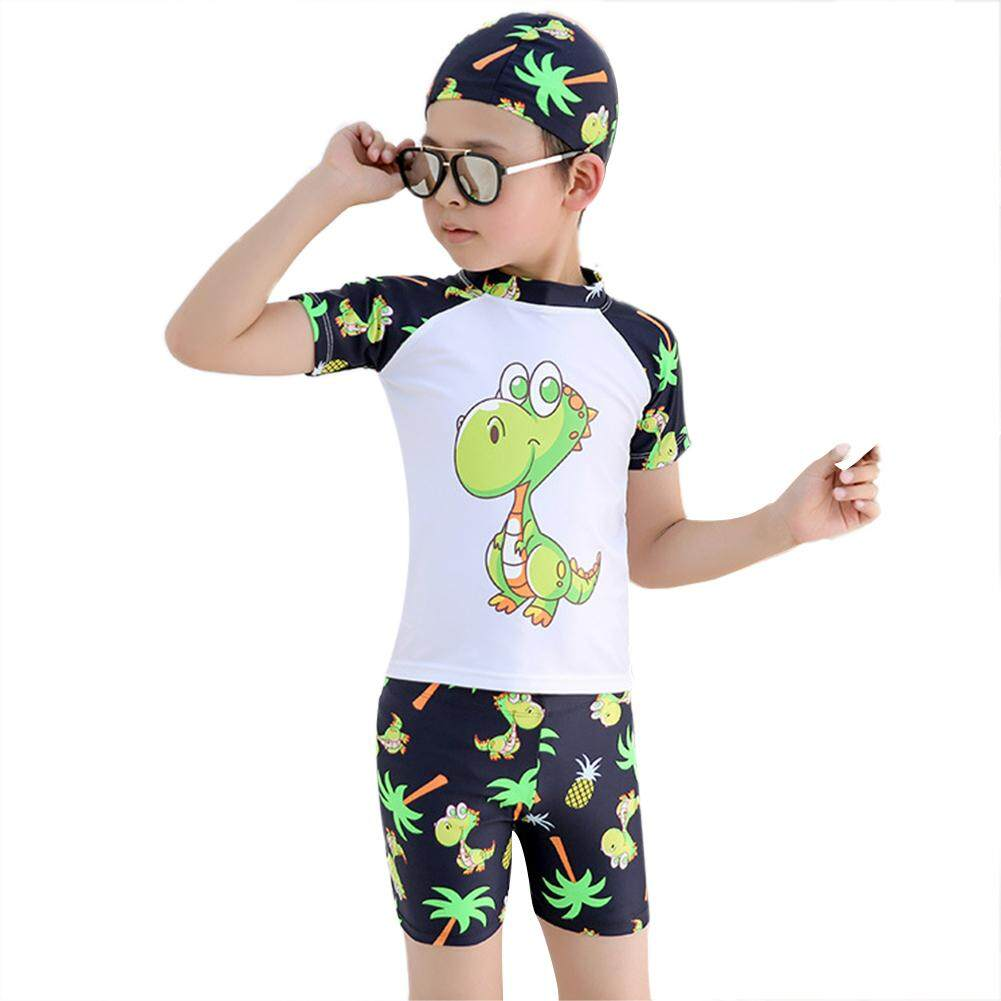 Mother & Kids New Kids Baby Boy Clothes Summer Clothes Dinosaur Swimming Costume Trunks+hat Set Summer Beach Swimwear Clothing Sets