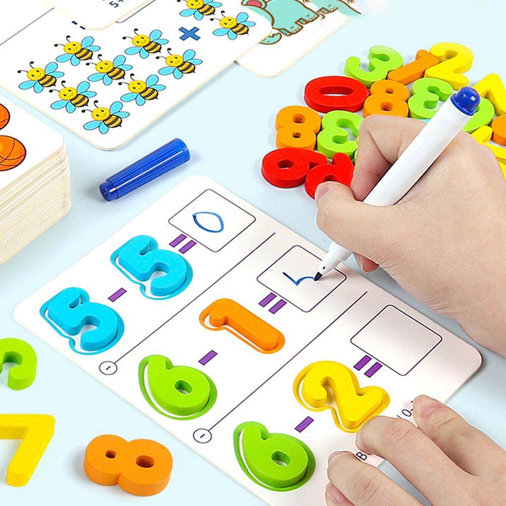 KM Kids Baby Wooden Blocks Math Cards Educational Toy for Counting