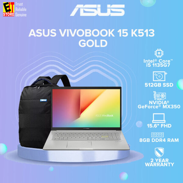 ASUS VIVOBOOK 15 K513 K513E-QBQ080TS LAPTOP-GOLD(I5-11335G7/8GB/512GB SSD/15.6 FHD/2G MX350/W10/2YRS) WITH MS.OFFICE + BAG Malaysia