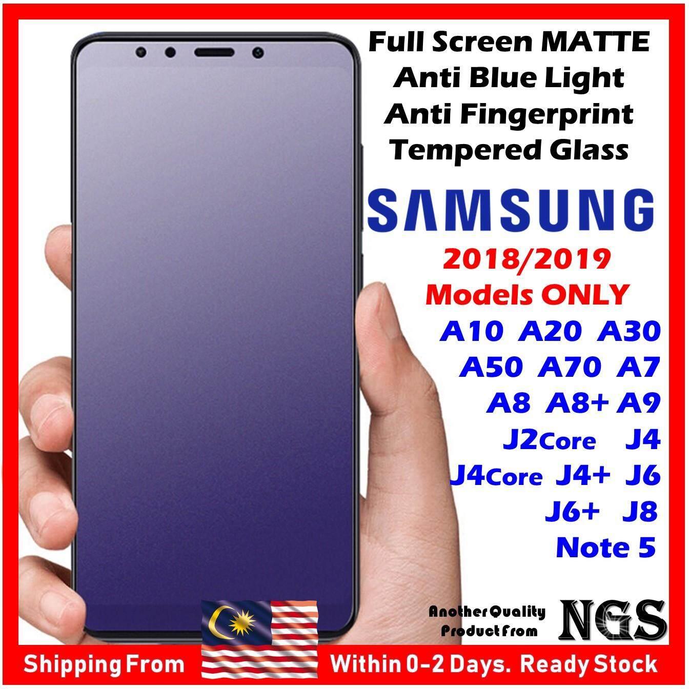 Full Screen Blue Light Anti Fingerprint MATTE Tempered Glass FOR SAMSUNG  Note 5 A10 A20 A30 A50 A70 A7 A8 A8+ A9 J2 Core J4 J4+ J4 CoreJ6 J8