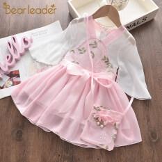Bear Leader Đầm công chúa cho bé gái, thêu hoa, thời trang, ngọt ngào – INTL