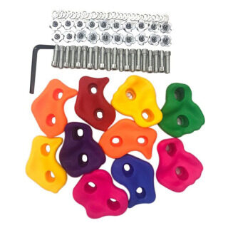 10Pcs Mixed Color Plastic Children Kids Rock Climbing Wood Wall Stones Hand Feet Holds Grip Kits with Screws thumbnail