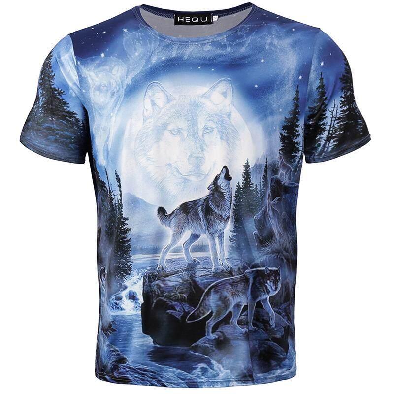 9419f2d4e Kuhong Wolf Animal Howling 3D Print Mens Women Short Sleeve T-Shirt Graphic  Tee Tops