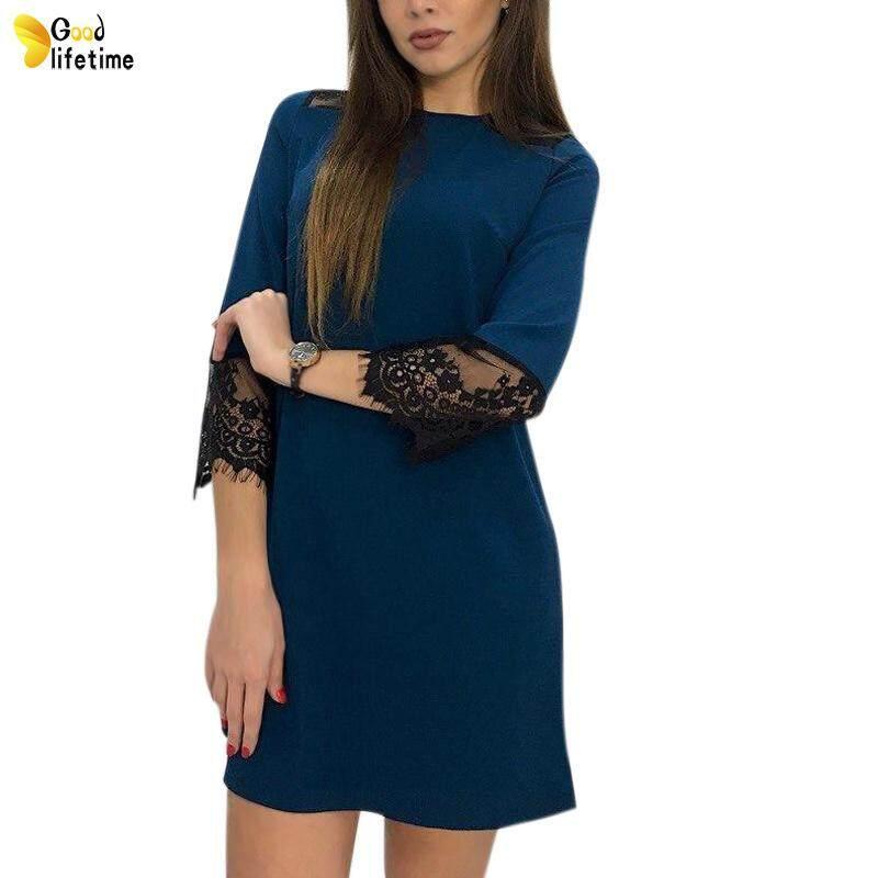 b1d19d2036290 GLT Women Autumn Dress Lace Hem Round Neck 3/4 Sleeves Loose Pullover  Casual Dresses