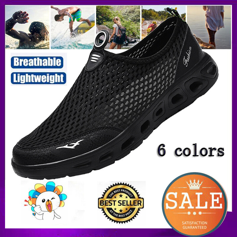 6 Colors Sports Sandals For Men 2020 Summer Slip On Beach Shoes Women Hollow Water Shoes Diving Swimming Shoes Croc Men Slippers Ultralight Large Size Outdoor Wading Shoes.