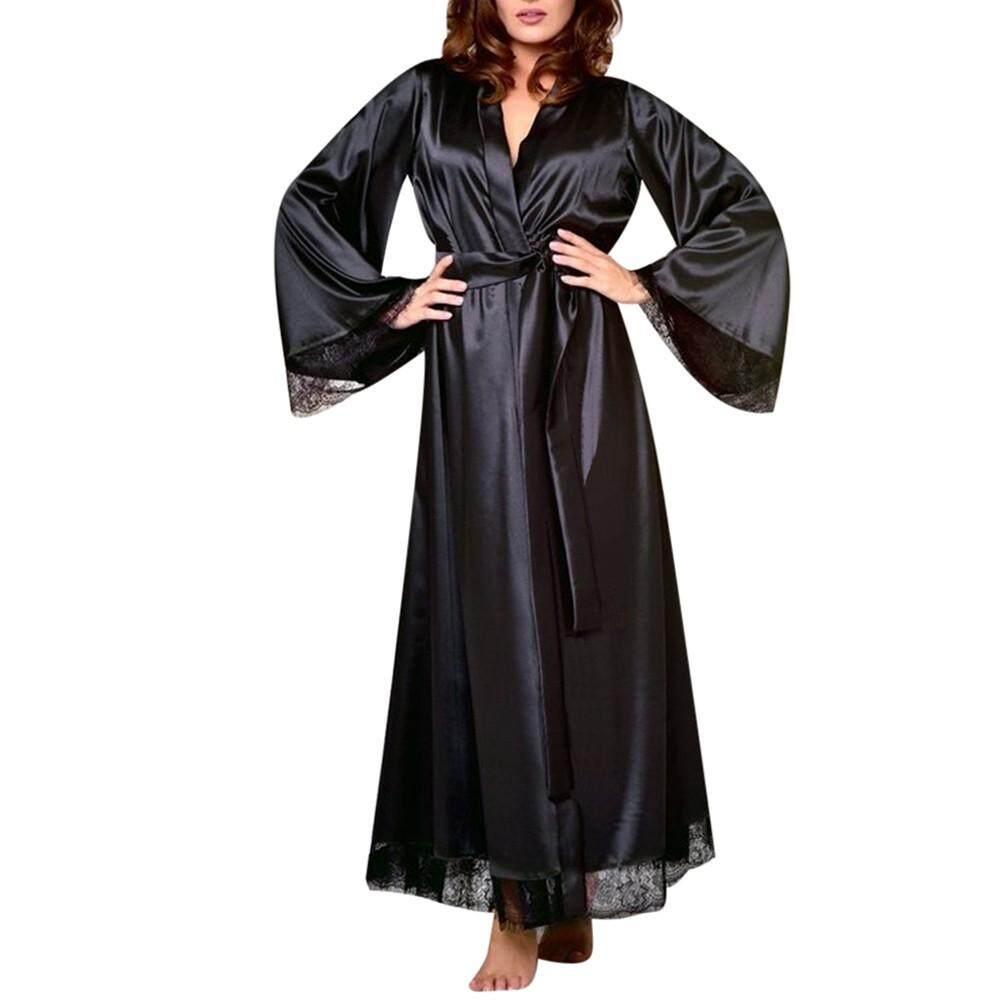 7de59d888a Lingerie Sleep Robes Women Sexy Long Silk Kimono Dressing Gown Bath Robe  Babydoll Lingerie Nightdress
