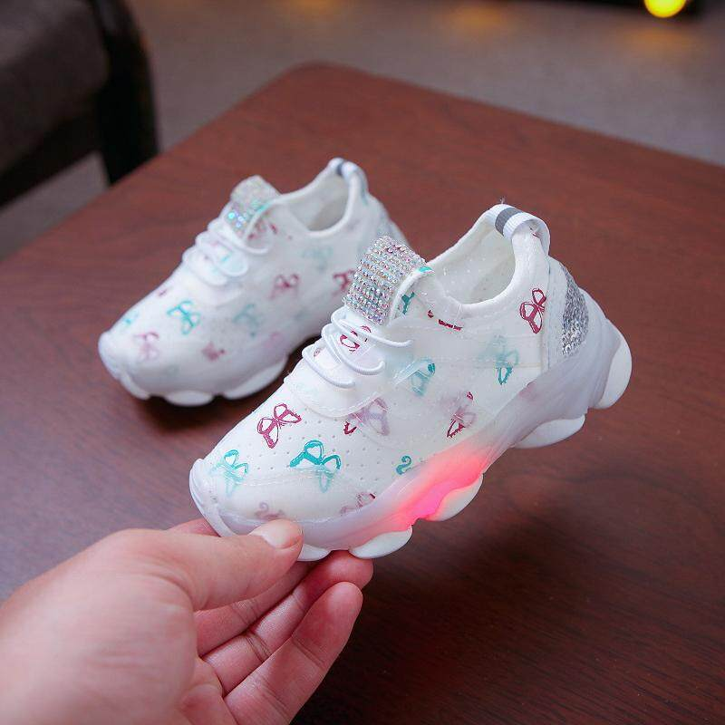 a9ce5709bb Baby Boys Breathable Anti-Slip LED Design Sneakers Girls Soft Soled Walking  Shoes First Walkers