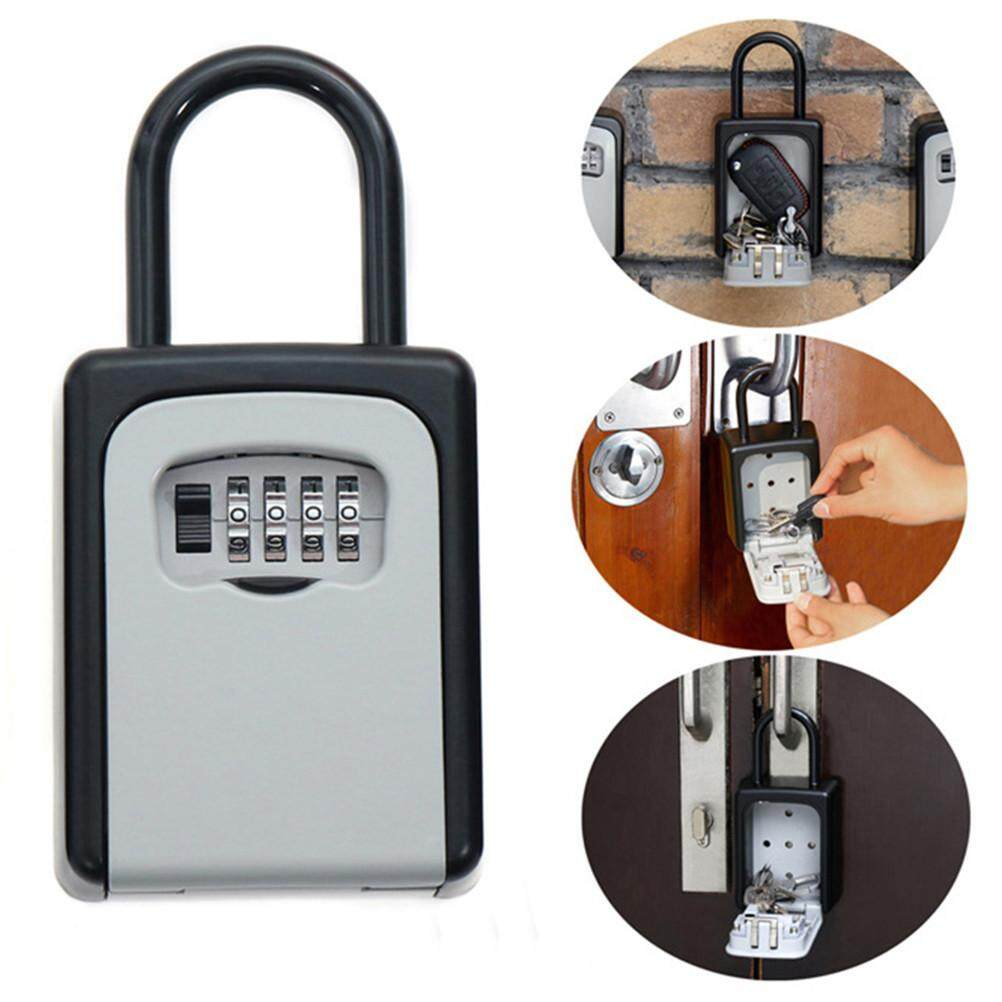 Safty Key Lock Box Set-Your-Own Combination Portable Aluminium Alloy Key Safe Box Secure Box Security Key Holder With Hook (White)