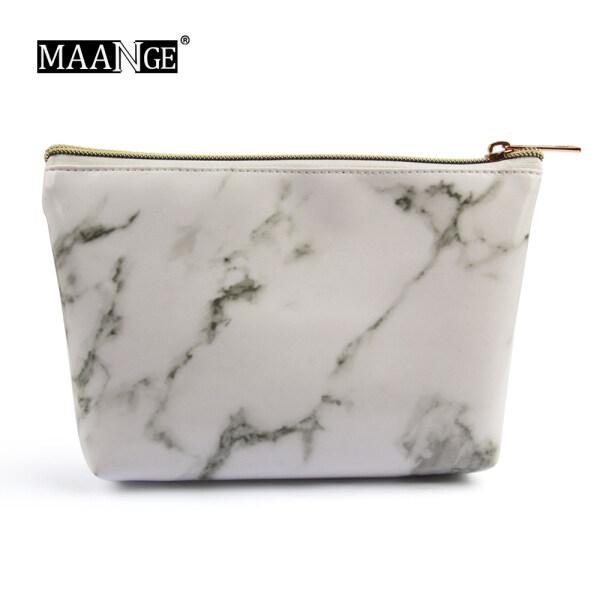 Túi đựng đồ trang điểm MAANGE hoạ tiết đá cẩm thạch dùng khi đi du lịch - INTL