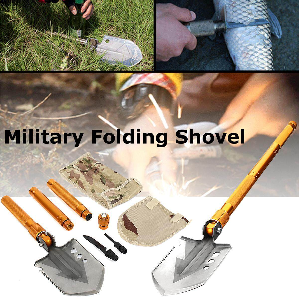 Military Folding Shovel Camping Multi Function Survival Outdoor Hiking Emergency