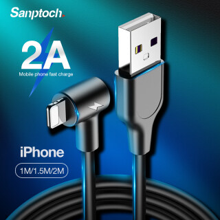 Sanptoch Cáp Sạc Nhanh 90 Độ Cáp Sạc Dữ Liệu USB Cho iPhone 11 12 Pro Max XS XR X 8 7 6 6S 5 5S SE iPad IPod IOS 1M 1.5M 2M thumbnail