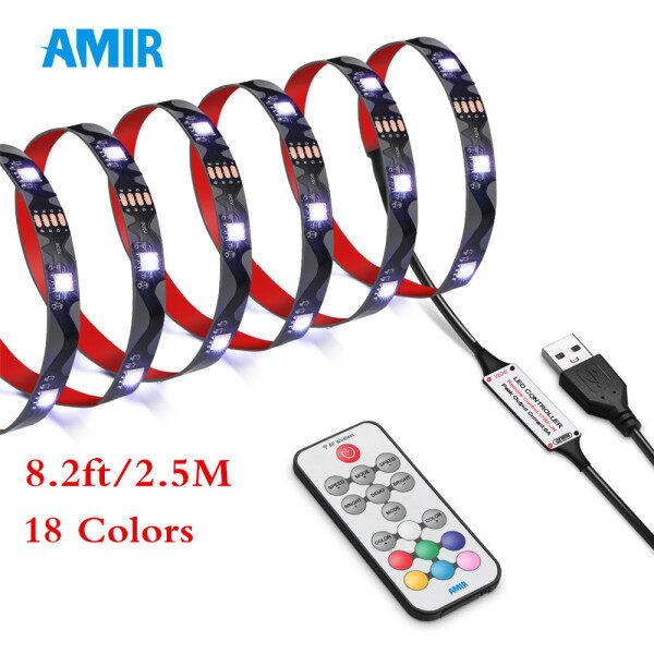 AMIR Led Strip Light, 8.2ft 75 LED USB TV Backlight Kit with Remote, 21 Lighting Modes 18 Color Changing 5050 RGB LED Light Strip Bias Lighting