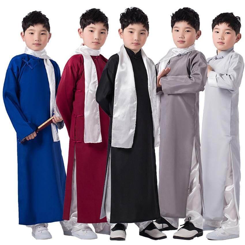 f1bb0230b Chinese Dress Boys Tang Suit Traditional Clothing Long Robes Shirt Children  Cheongsam Kids New Year Costume