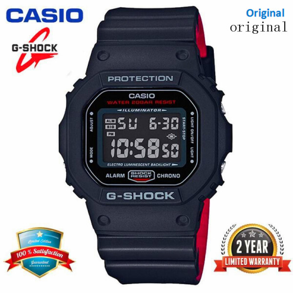 (HOT SALE) Original G-Shock DW5600 Men Sport Watch LED Display 200M Water Resistant Shockproof and Waterproof World Time LED Auto Light Sports Square Wrist Watches with 2 Year Warranty DW5600HR-1 Black Red (Ready Stock) Malaysia