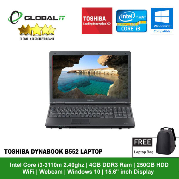 (Refurbished Notebook) Toshiba DynaBook B552 Laptop / 15.6 inch LCD / Intel Core i3-3110m / 4GB DDR3 Ram / 250GB HDD / WiFi / Windows 10 / Webcam Malaysia