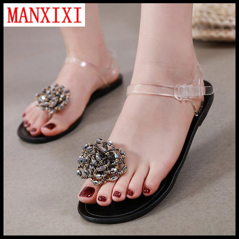 Manxixi Thương Hiệu Phiên Bản Hàn Quốc Đẹp Jelly Xăng Đan Đế Bệt Giày Ngọc Trai Cho Nữ (Cỡ 35-40) giá rẻ