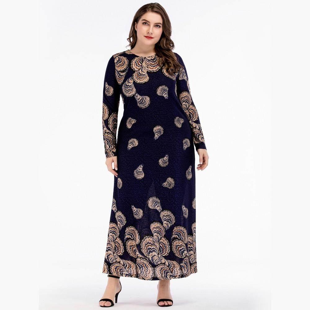 266fc9e2 Shell Pattern Muslim Knitted Plus Size Fat Women Slim Fit Stitching Long  Sleeves Abaya Maxi Dress