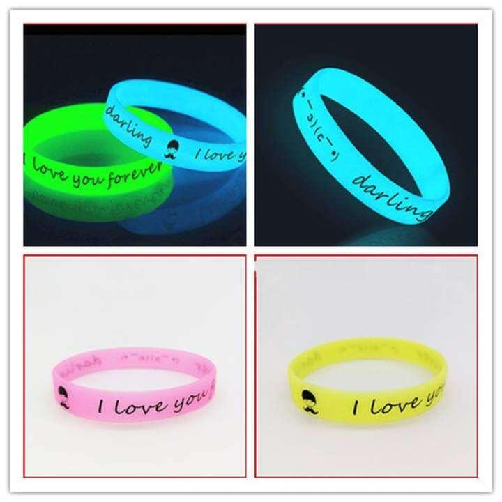 wgk Silicone Bracelets Rubber Sweat Band Luminous Wristbands Men Women  Rubber Shine Bangles Wristbands Glow in the Dark Sport Wrap | Lazada