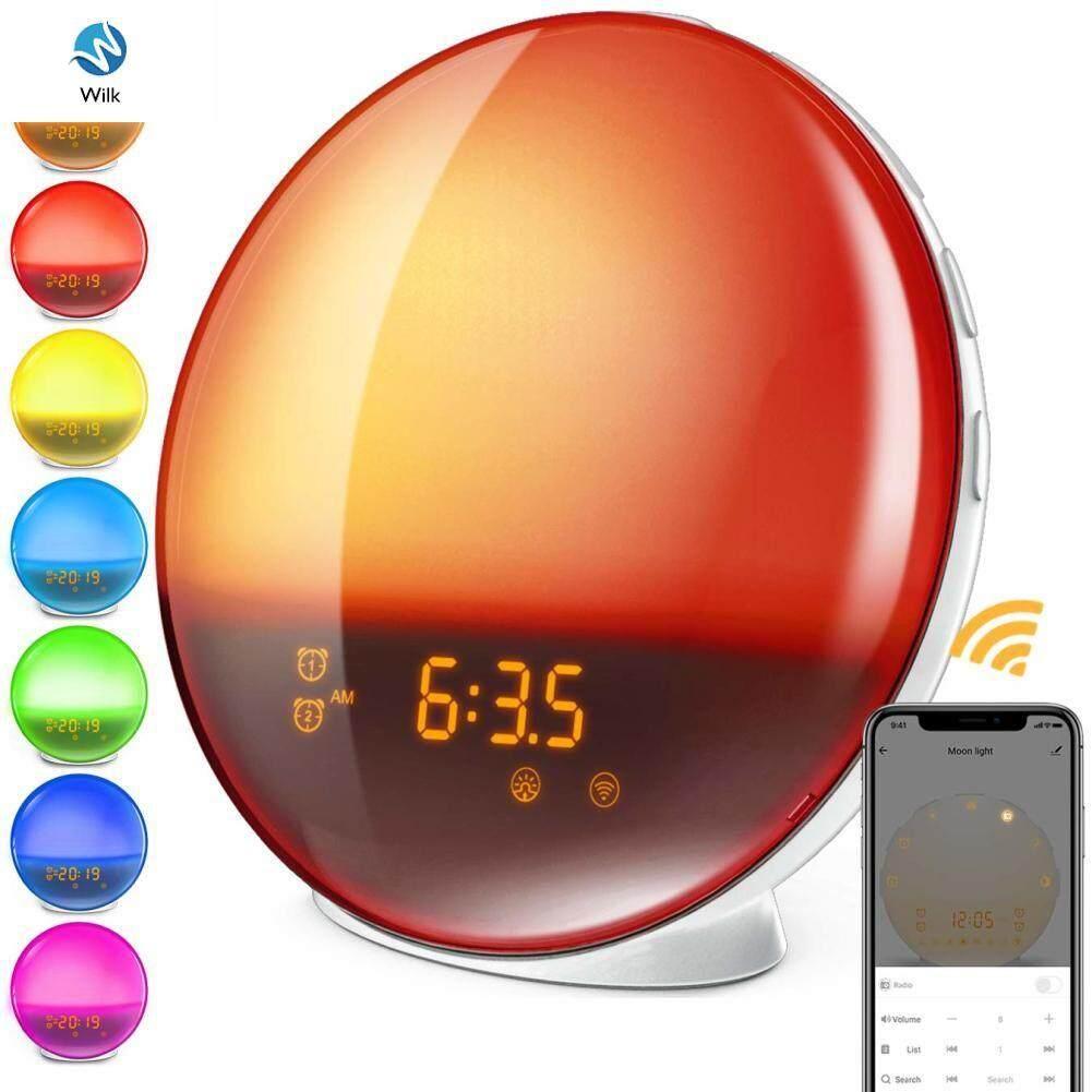 Wilk Alarm Clock Wake Up Light Digital Snooze Nature Night Lamp Clock Sunrise Colorful Light With Nature Sounds FM Radios