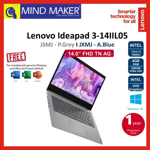 Lenovo IdeaPad 3 14IIL05 81WD00JSMJ Platinum Grey / JXMJ Abyss Blue 14 FHD Notebook (i3-1005G1/4GB/256GB NVMe SSD/UHD Graphics/Office H&S2019 OPI/Win10/1 Year Premium Care Warranty) Malaysia