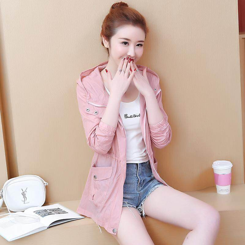 e3b15b9ada66 2019 Summer New Style Korean Style Loose Sun-resistant Clothes women  Mid-length Hoodie