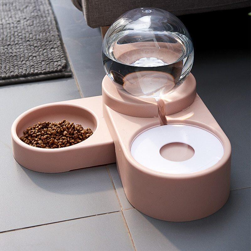 Đài Phun Nước Cho Mèo Ăn Tự Động 2 Trong 1 + Bát Đựng Thức Ăn 1,8L, Bình Đựng Thức Ăn Cho Chó