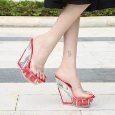 Giày cao gót đế xuồng trong suốt giày sandal thời trang cao 6.72 inch size lớn 36-41