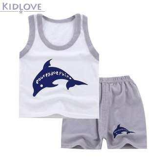 Kidlove เด็กเสื้อผ้าชุดสาวเด็กการ์ตูนชุดเสื้อยืดผ้าฝ้าย + กางเกงขาสั้นชุดเสื้อผ้าเด็ก