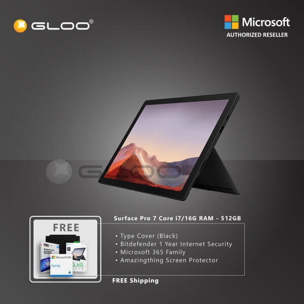 Microsoft Surface Pro 7 Core i7/16G RAM - 512GB Black - VAT-00025 + Surface Pro Type Cover [Choose Color] + Bitdenfender 1 Year Internet Security + Microsoft 365 Family (ESD) + Amazingthing Screen Protector Malaysia