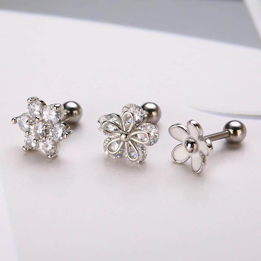 126905916 BOKALI 3pcs CZ Flower Ear Cartilage Tragus Helix Earrings Barbell Piercing  Jewelry