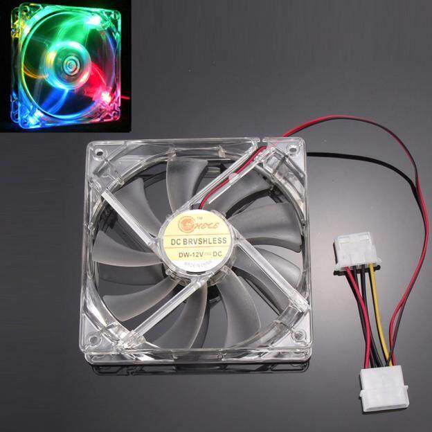 Quad 4-LED Light Neon Quite Clear 120mm PC CPU Computer Case Cooling Fan Mod