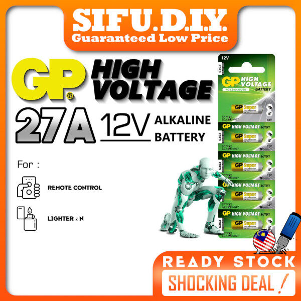 GP High Voltage Battery 27A ORIGINAL Alkaline Bateri 12V For Auto Gate, Car Remote Control, Keyless Entry System (1 Pc)