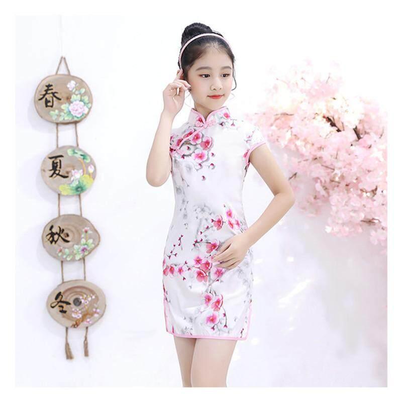 Giá bán Đầm Bé Lễ Rửa Tội Đầm Hoa Mùa Hè Bé Gái Áo Trẻ Em Trung Quốc Quần Áo Sườn Xám Cách Tân Bé Gái Cotton Qipao cho Bé Size 2 -10T