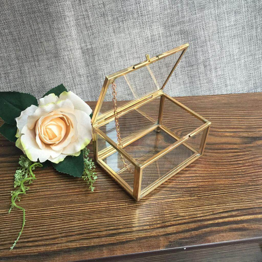 GuangquanStrade Modern Geometric Glass Jewelry Box Tabletop Succulent Plants Box Home Decoration