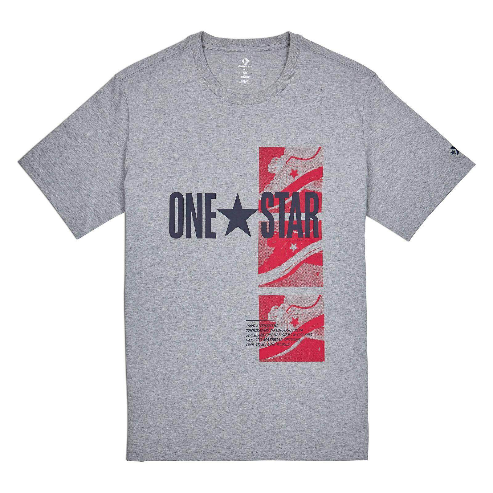 55c2b2e5e5b4 CONVERSE ONE STAR PHOTO SHORT SLEEVE TEE - VINTAGE GREY HEATHER -  10009128-035
