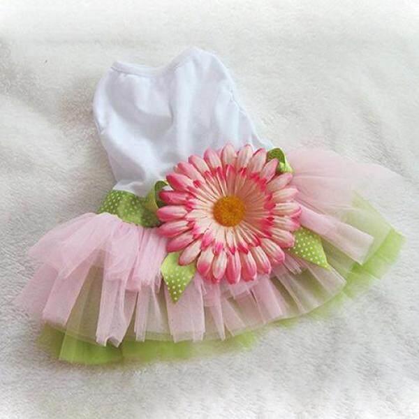 Huanhuang®Họa Tiết Cún Cưng Hoa Cúc Đầm Xòe Lưới Dệt Váy Cún Con Nơ Đeo Cho Mèo Trang Phục Công Chúa