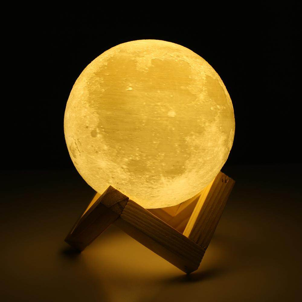 Rechargeable 3D Print Moon Lamp 2 Color Change Touch Switch Bedroom Bookcase Night Light Home Decor Creative Gift Christmas Gift New Year Gift- 20cm