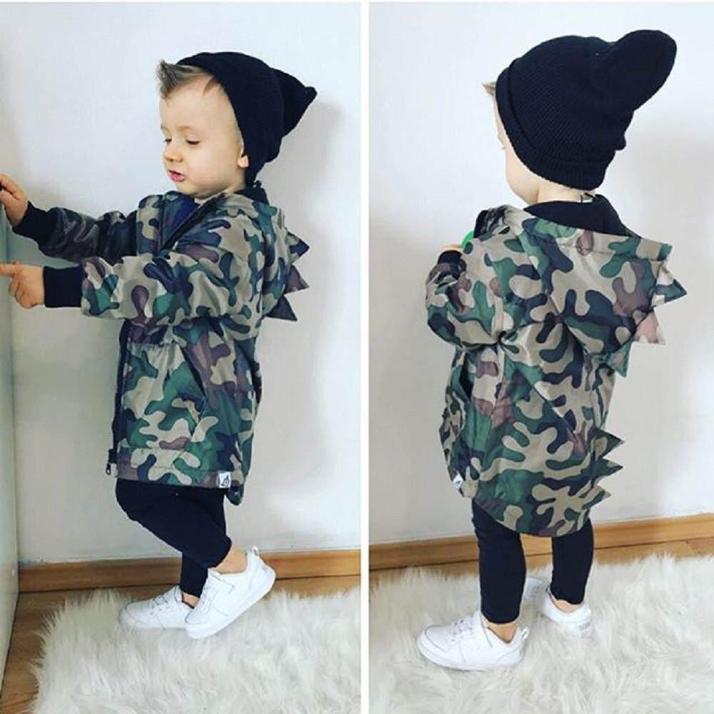 e3503670b Dotsonshop Free shipping Kids Baby Boy Dinosaur Camouflage Hooded  Windbreaker Tops Coat Jacket Clothes