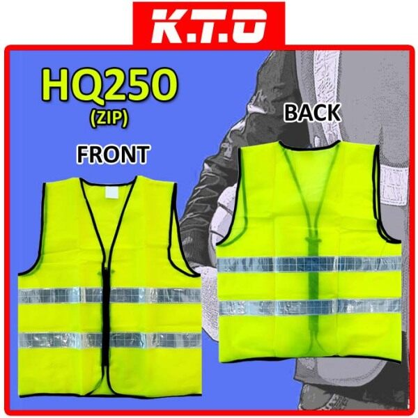 SAFETY VEST ZIP CLOSURE WITH TWO LINE REFLECTIVE / JAKET KESELAMATAN - HQ250ZIP